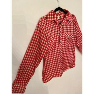Vintage Men's Red White Pearl Snap Western Shirt